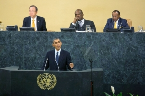 President Barack Obama addressing the UN General Assembly in September 2013. He will deliver remarks again Wednesday, following an airstrike against Sunni militants in Syria. Photo courtesy of whitehouse.gov.
